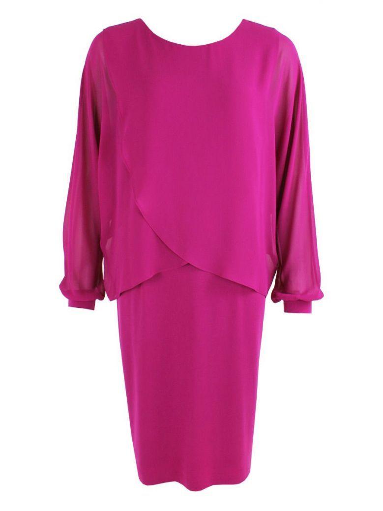 KK Luxury Magenta Sheer Overlay Shift Dress