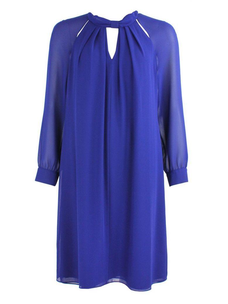 KK Luxury Blue Sheer Sleeved Shift Dress