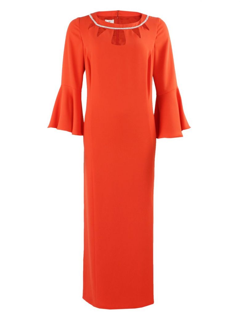 KK Luxury Orange Bell Sleeve Evening Dress