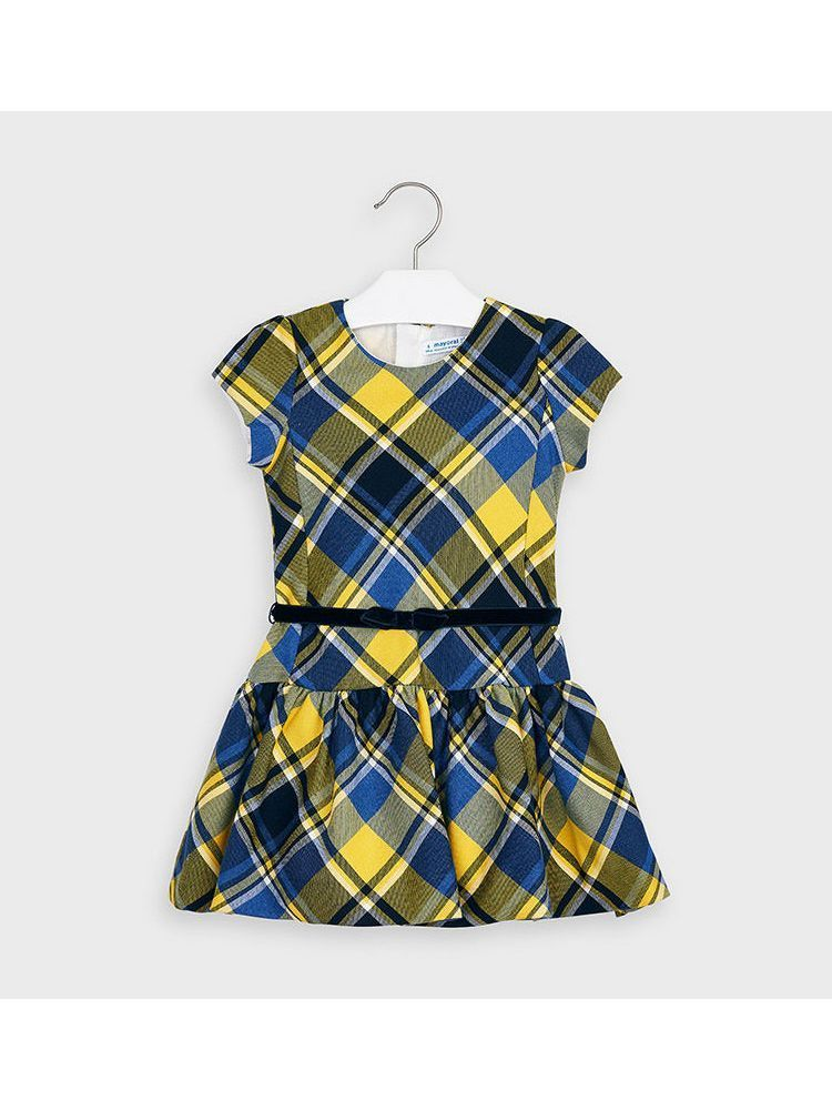 Mayoral Yellow & Navy Short Sleeved Checked Dress