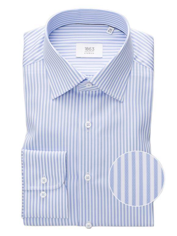 Eterna Light Blue & White Striped Long Sleeved Modern Fit Shirt