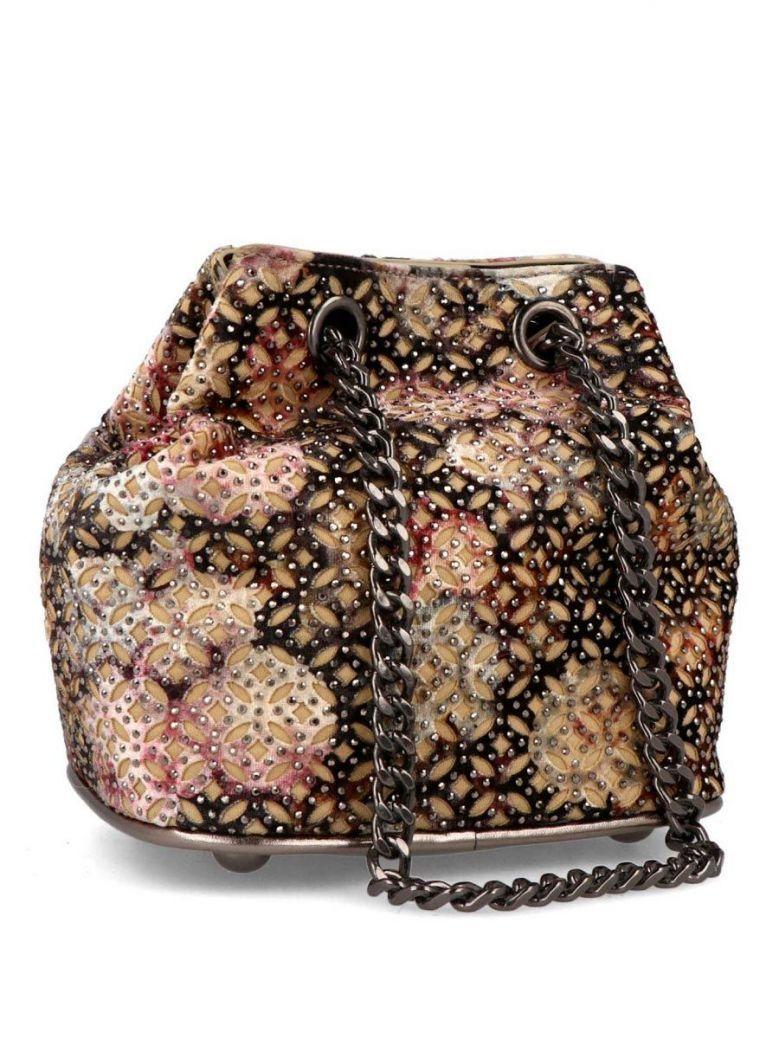 Menbur Black Floral Embellished Mini Bucket Bag