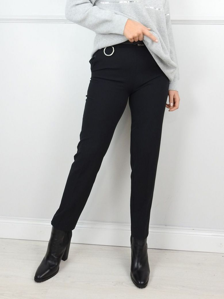Hukka Black High Waist Trousers with Belt