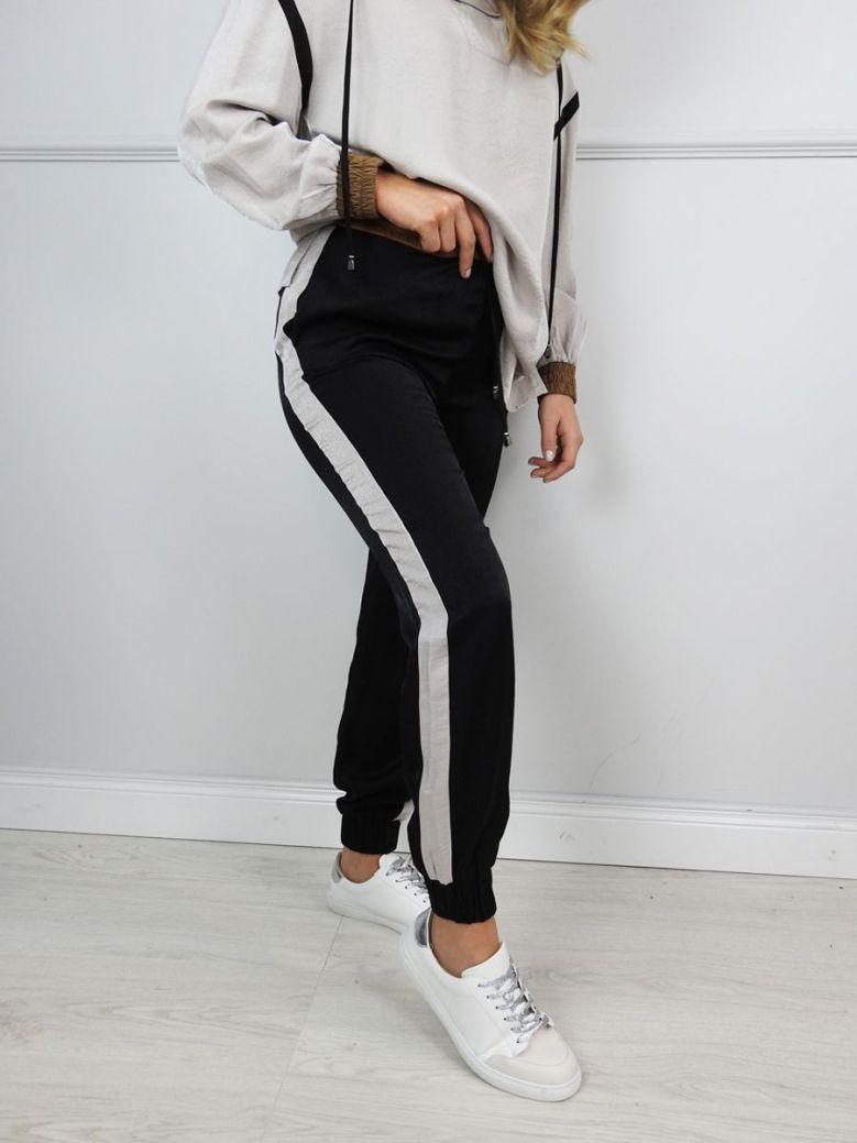 Hukka Black Side Stripe Cuff Trousers