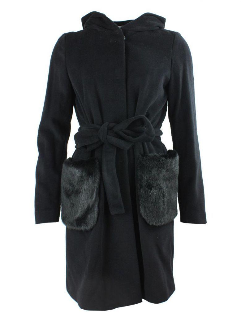Emme by Marella Black Faux Fur Pocket Hooded Coat