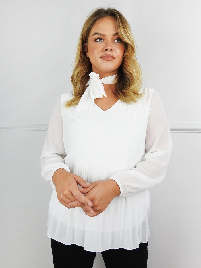 Bianca Cream Pleated Tie Neck Blouse