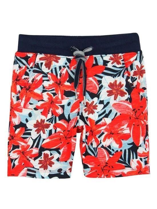 Boboli Navy Multi Floral Print Shorts
