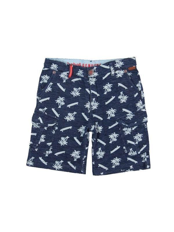 Boboli Blue Denim Skateboard Print Shorts