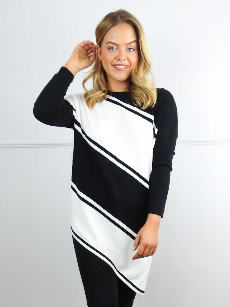 Marble Black and White Stripe Asymmetric Jumper