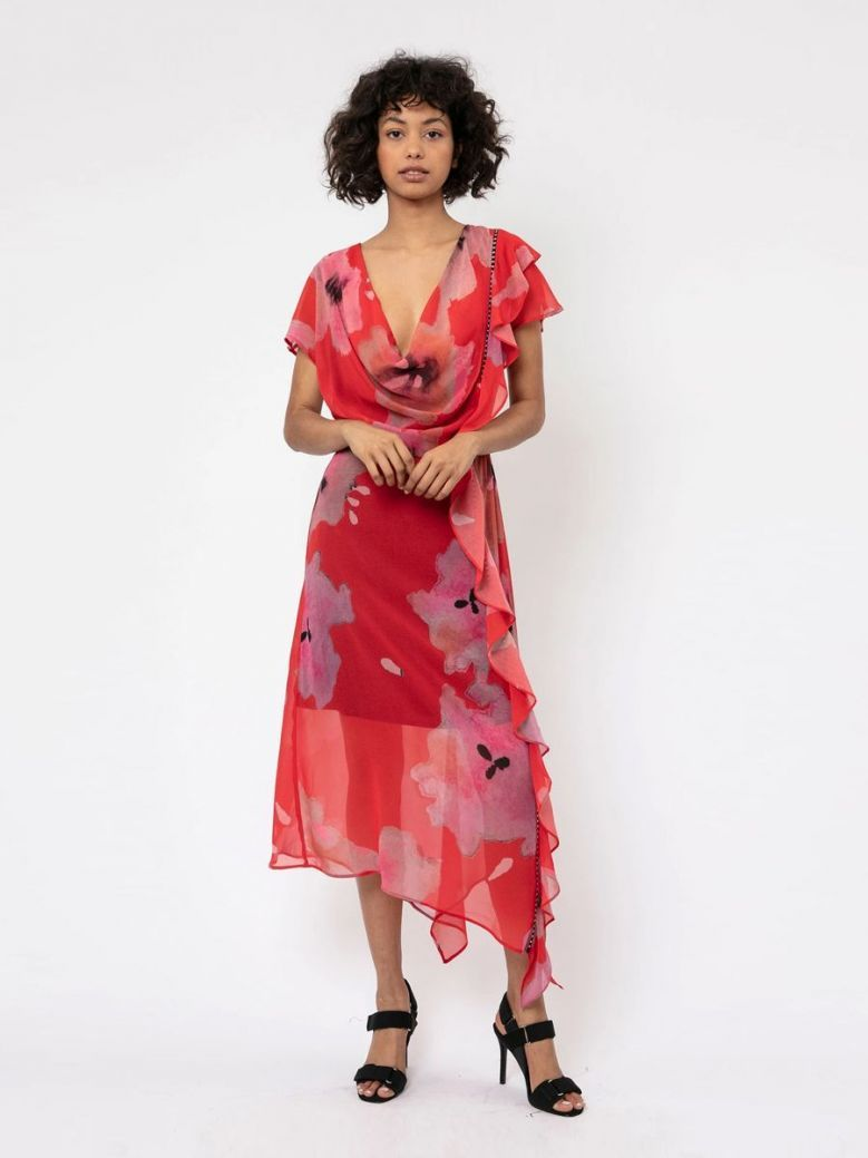 Religion Red Floral Print Titan Midi Dress
