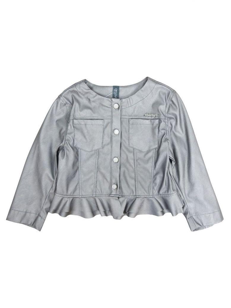 Amaya Metallic Grey Ruffle Hem Jacket