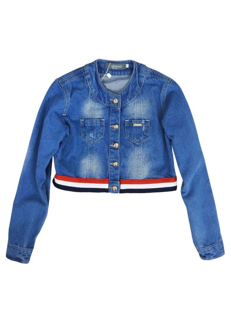 Amaya Constrast Hem Cropped Denim Jacket