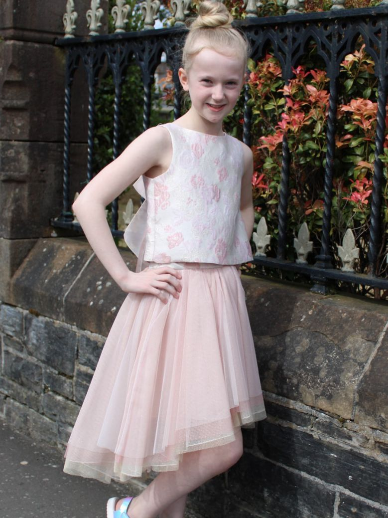 Amaya Pink Two Piece Top and Tulle Skirt