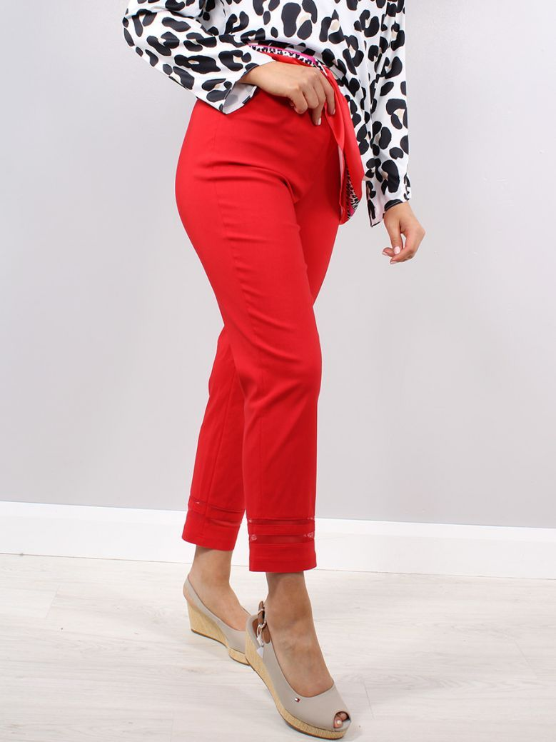 Robell Red Slim Fit Marie Trousers