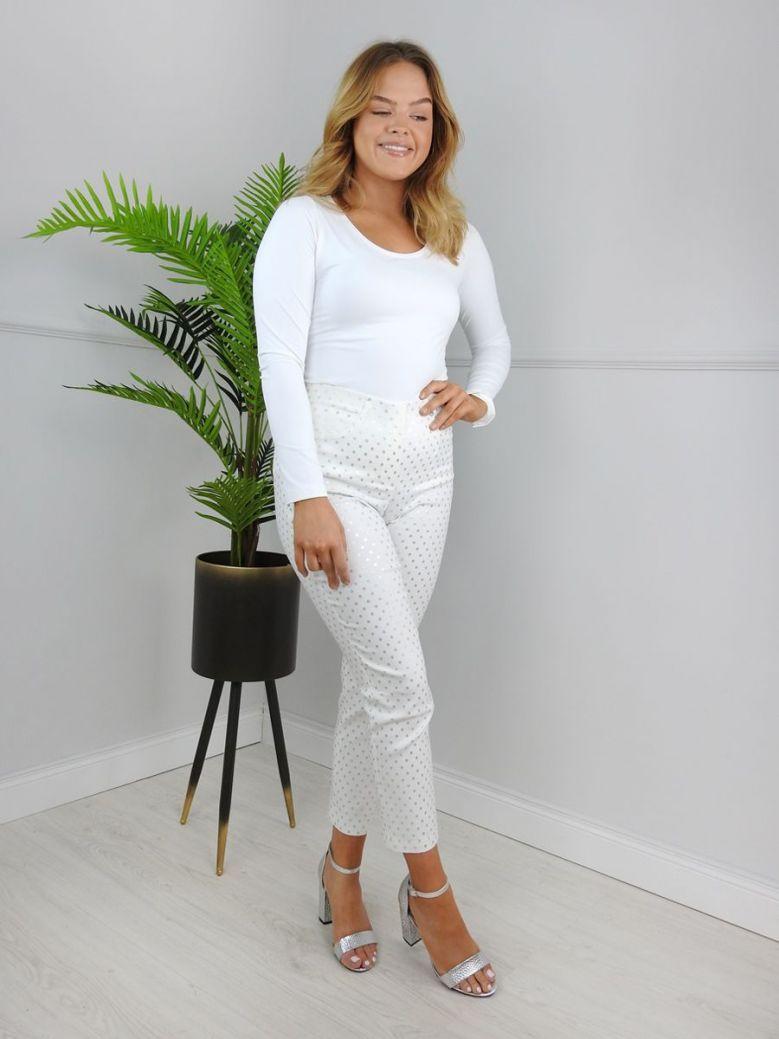 Robell White Polka Dot Print Trouser (Bella 09)