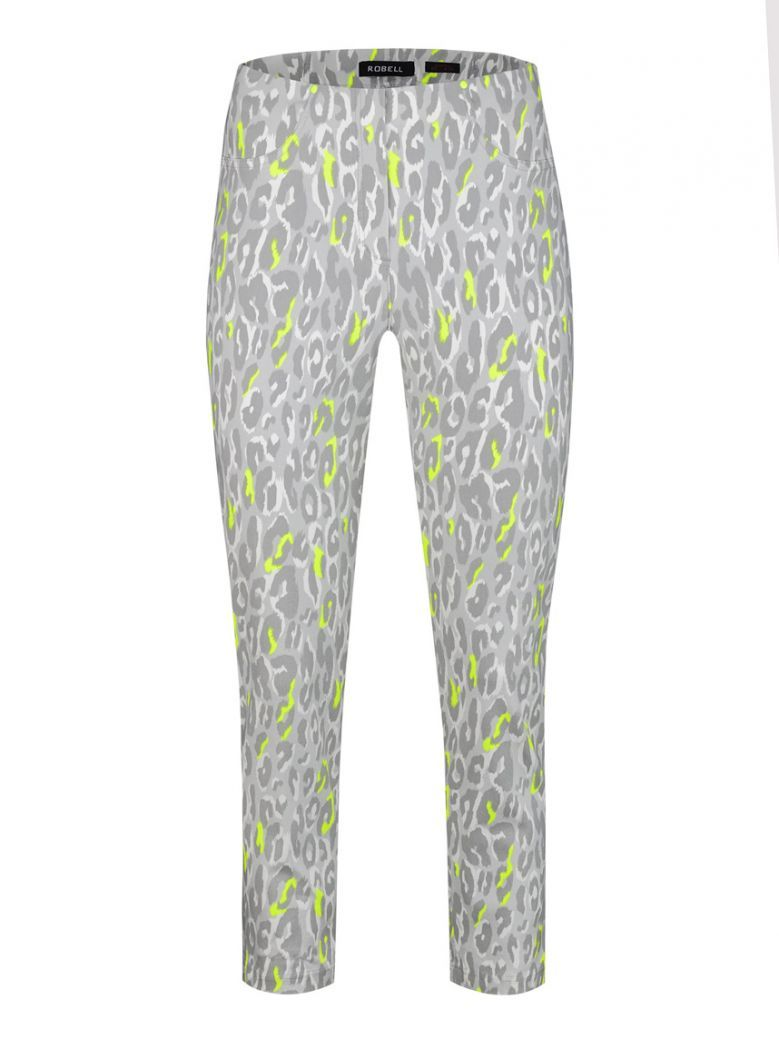 Robell Grey Leopard Slim Fit Trousers