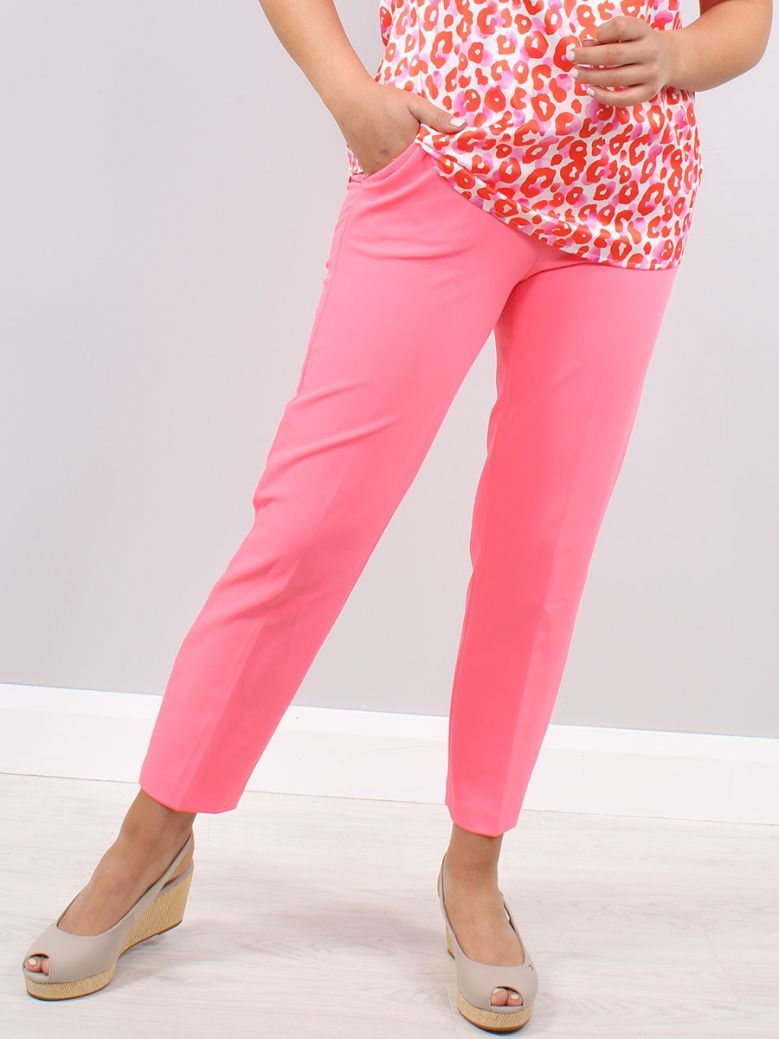 Robell Fluro Pink Ginger Slim Fit Trousers