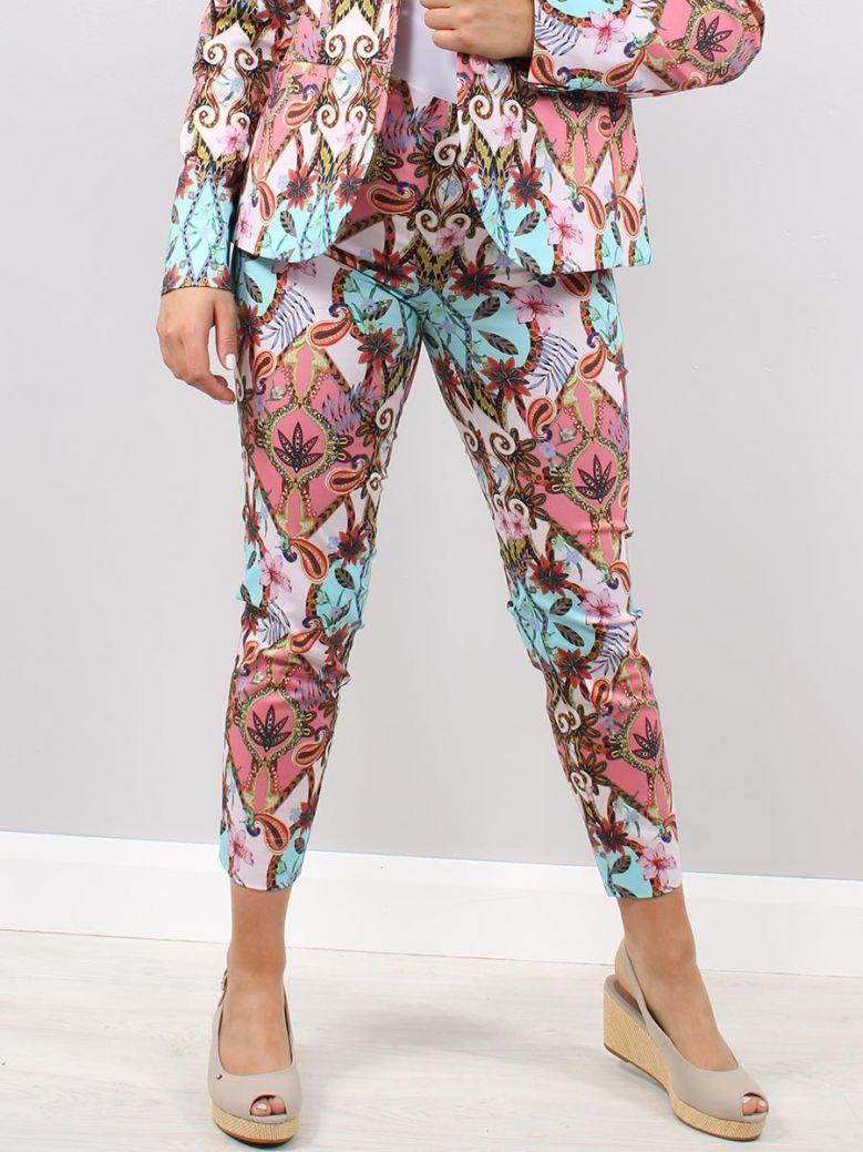 Robell Multi-Coloured Flower Printed Rose Trousers