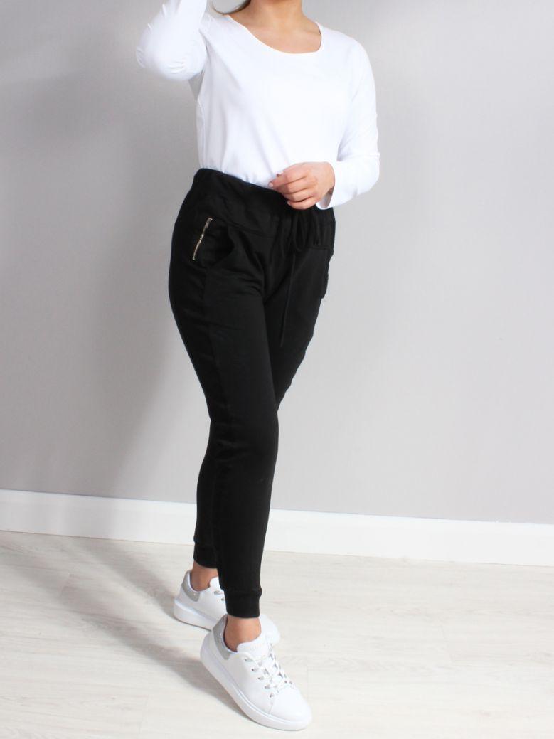 Cilento Woman Black Zip Detail Joggers