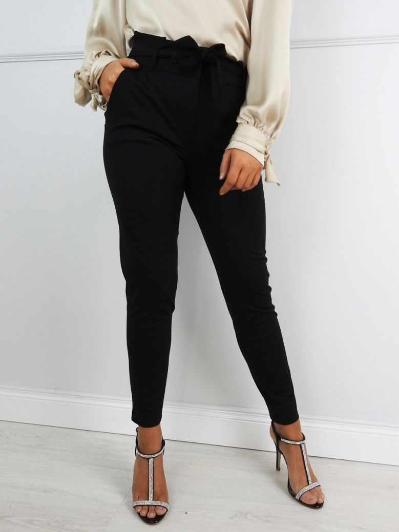 Robell Black Colly Tie Waist Trousers