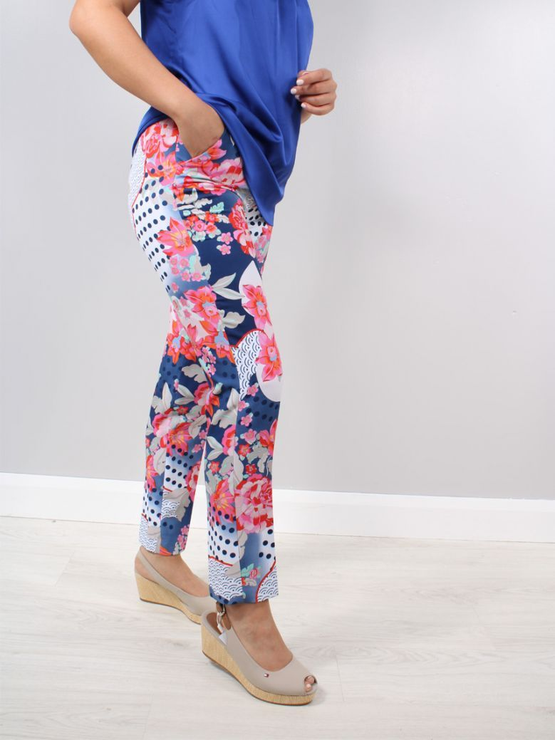 Robell Multi Denise Flower Detail Trousers