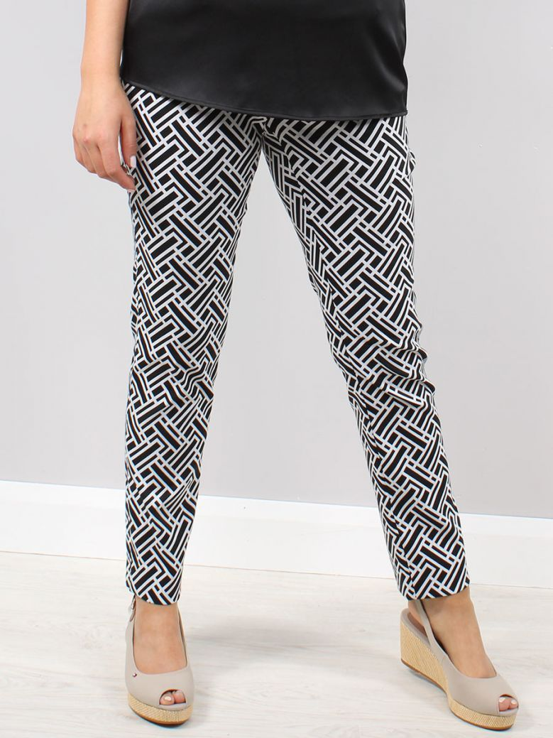 Robell Black and White Mimi Printed Trousers