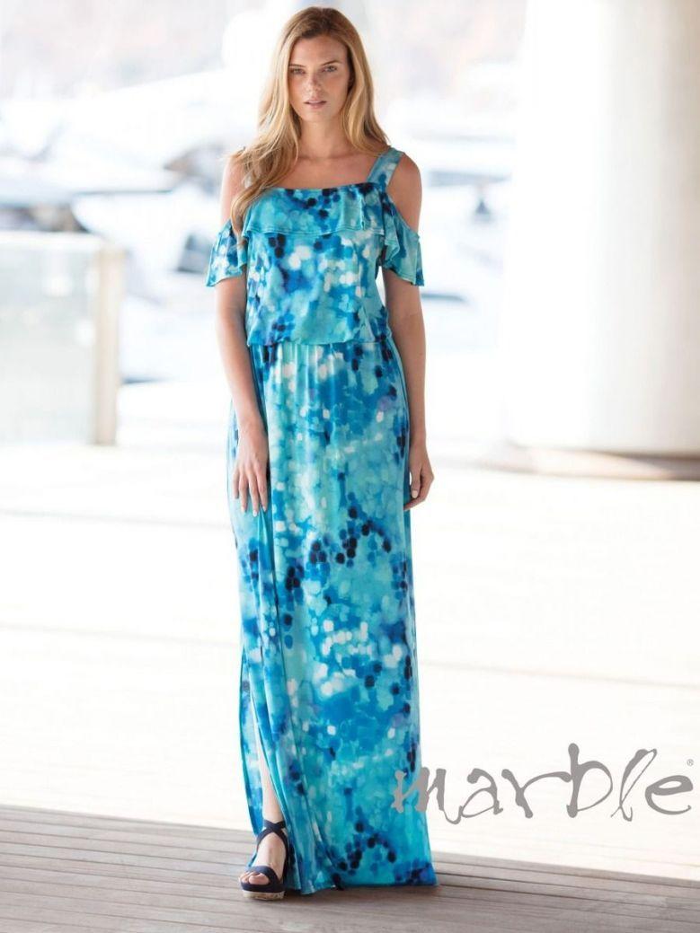 Marble Blue Tie-Dye Maxi Dress