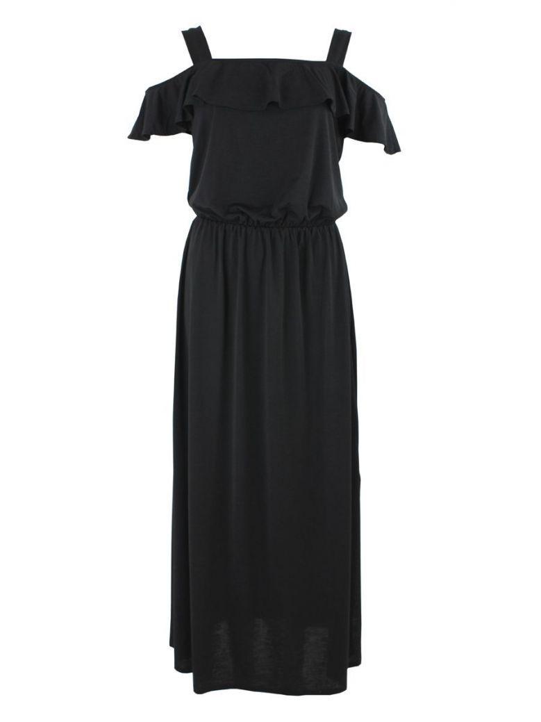 Marble Black Cold Shoulder Maxi Dress