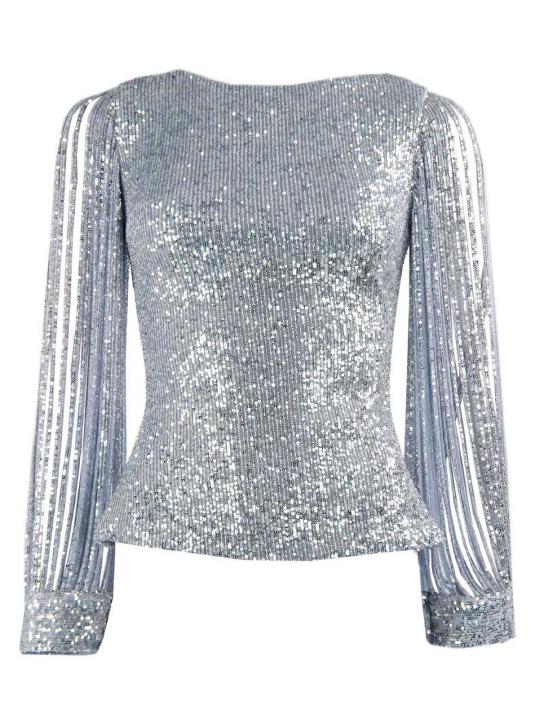 Red & Royal Light Blue Long Sleeve Sequin Top