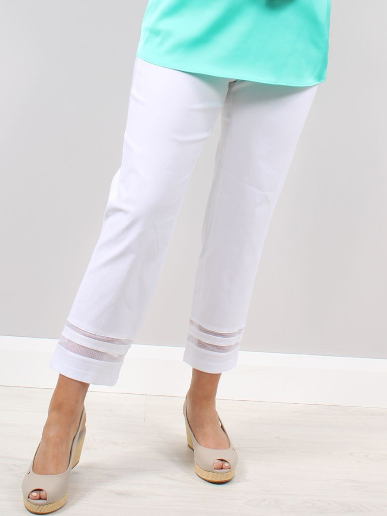 Robell White Slim Fit Trousers