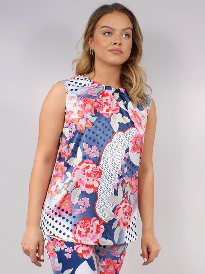 Robell Multi-Coloured Floral Detail Alice High Neck Top