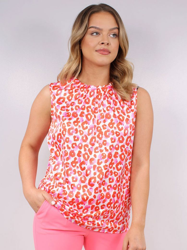 Robell Multi-Coloured Printed Alice High Neck Top