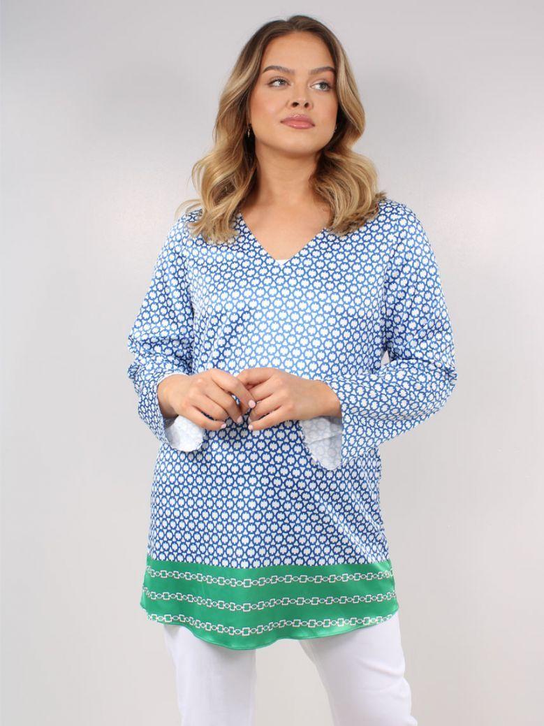 Robell Blue Pattern Sharon V-Neck Tunic