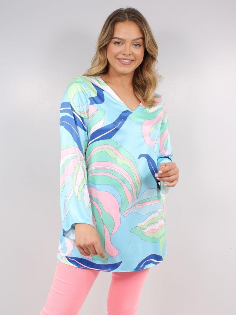 Robell Blue Flower Print Sharon V-Neck Tunic