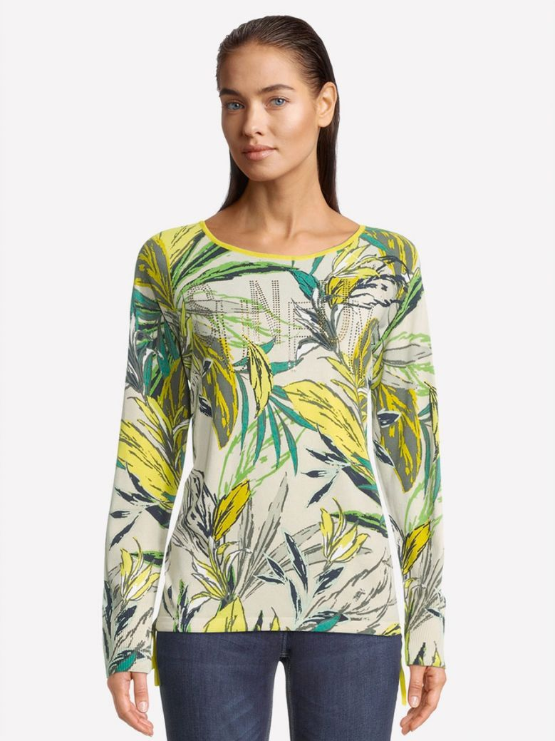 Betty Barclay Green Fine Knit Top with Floral Print