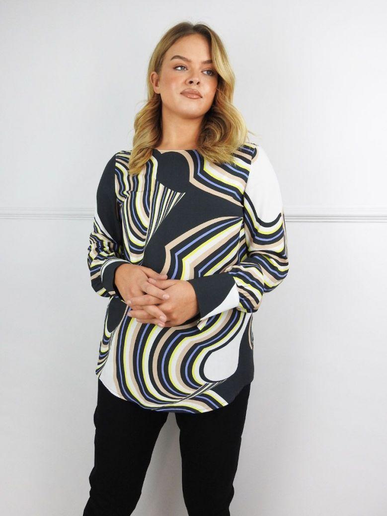 Bianca Multi Abstract Swirl Print Blouse