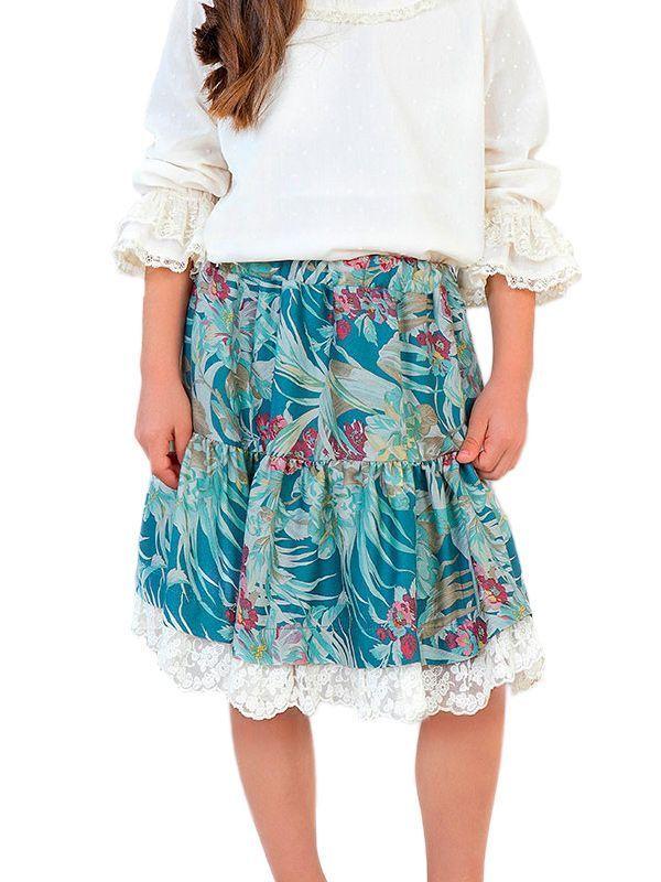 Abel & Lula Green Floral Pattern Skirt