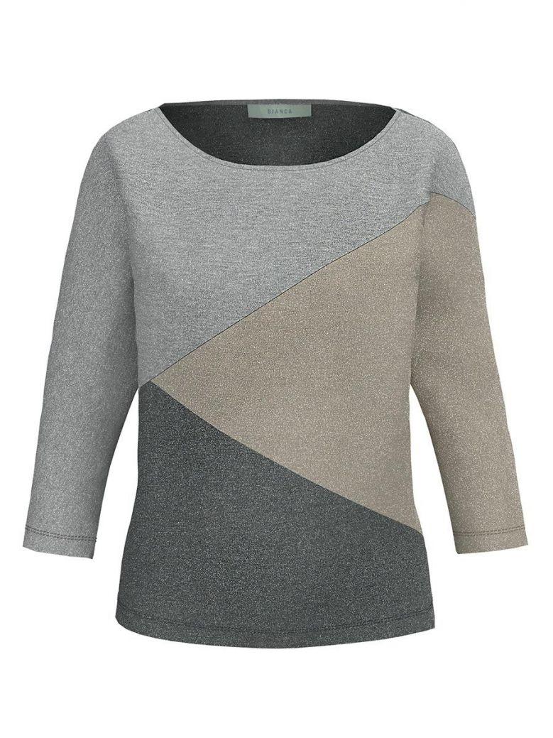 Bianca Grey 3/4 Sleeve Shimmer Top