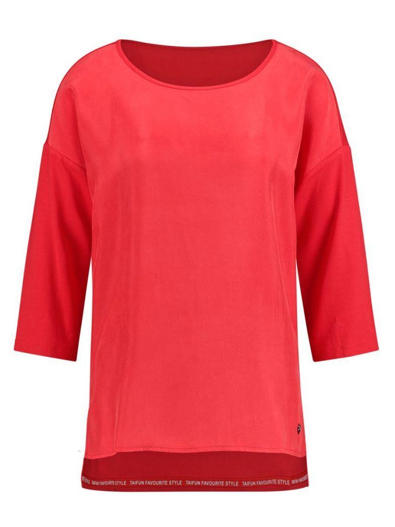 Taifun Red Mixed Fabric 3/4 Sleeve Top