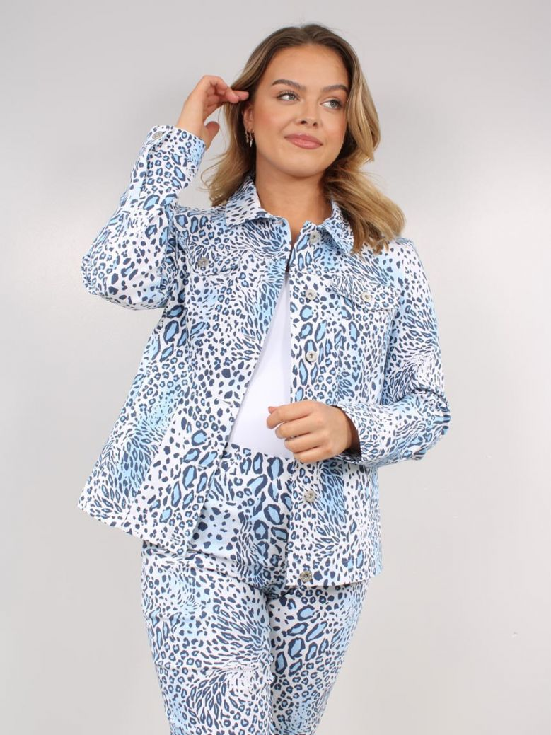 Robell Blue Leopard Happy Printed Jacket