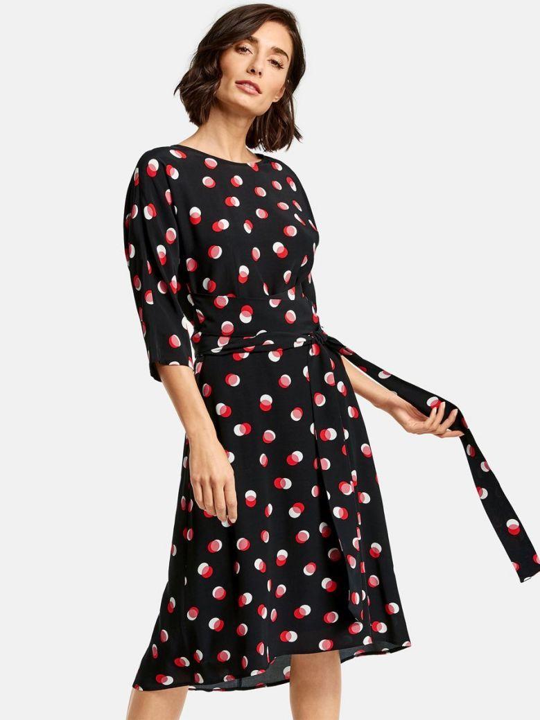Taifun Black Polka Dot Midi Dress