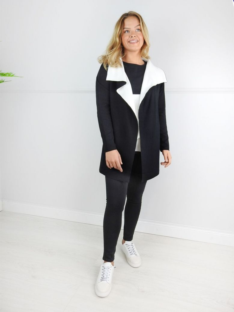 Marble Black & White Open Front Cardigan
