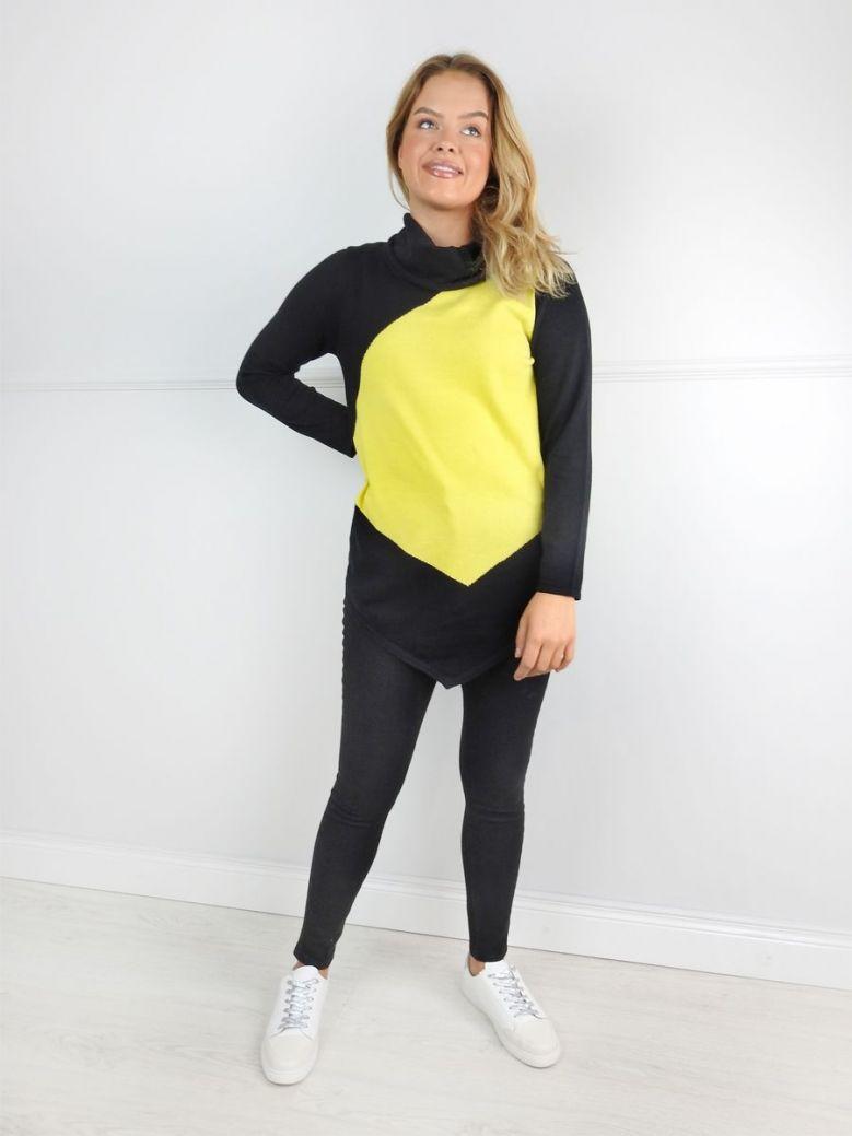 Marble Black and Yellow Asymmetric Hem Jumper