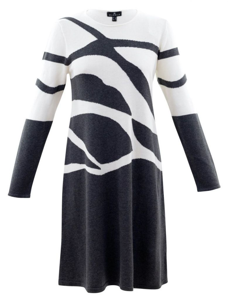 Marble Black and White Abstract Jumper Dress