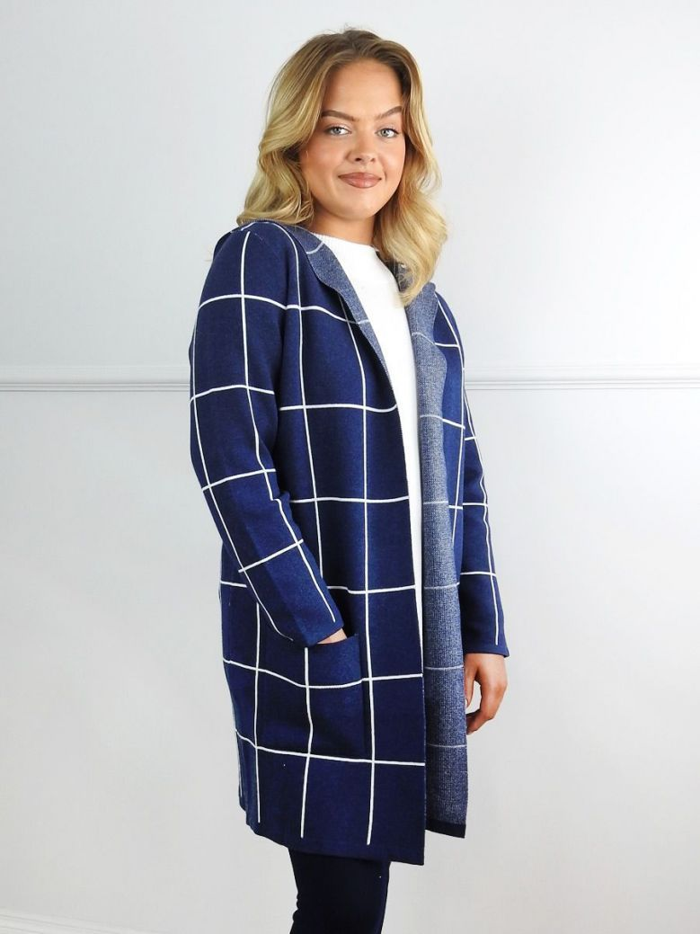 Marble Navy & White Check Hooded Long Cardigan
