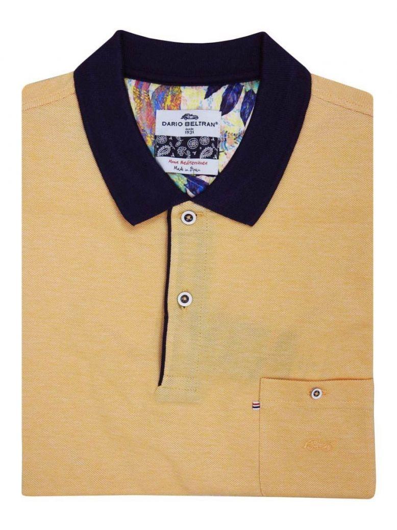 Dario Beltran Orange Contrast Collar Pique Polo Shirt