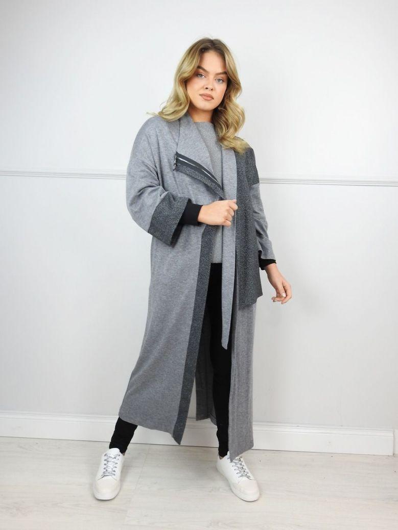 Hukka Grey Longline Shimmer Detail Cardigan