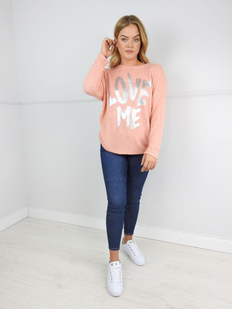 Erika W Coral Metallic Slogan Jumper