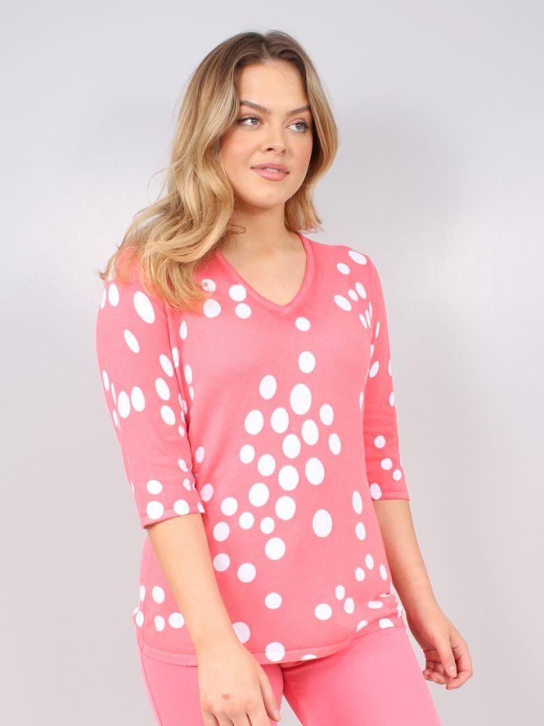 Marble Pink Spot Print 3/4 sleeve Top