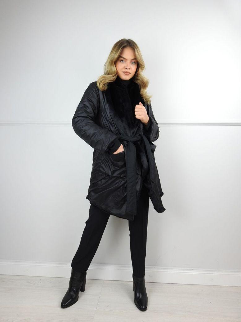 Hukka Black Faux Fur Reversible Coat